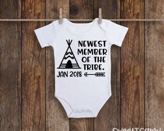 Pregnancy Announcement Onesie, Newest Member Of The Tribe Onesie, Baby Announcement, New To The Tribe Onesie, Baby Reveal, Baby Onesie, Baby