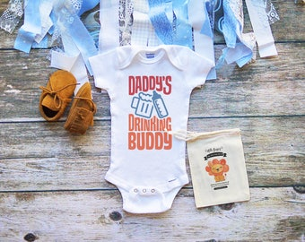 Daddy's Drinking Buddy Baby Onesie - Funny Baby Onesies for Dad - Beer - Funny Milk Shirts - Baby Shower Gifts - Baby Girl Boy Clothes - A28