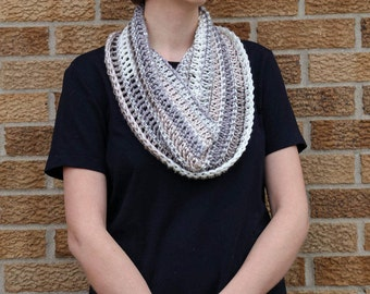 Women's Lacy Crocheted Infinity Scarves- Lightweight- Very Soft- One Size- Neutral colors- beige and gray stripes