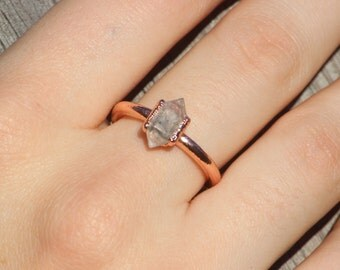 Herkimer Diamond Ring // Electroformed Copper Jewelry
