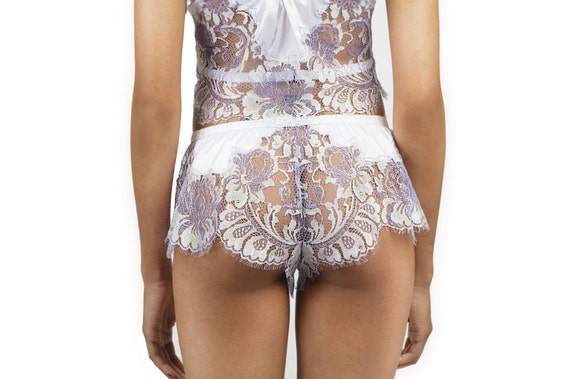 Handcut Swarovski® embellished Lace/Silk Camisole/Nightwear Bottom, Made-to-Order/Bespoke/Custom UK