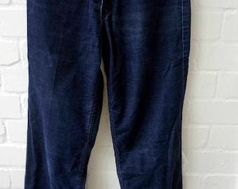 Vintage 1970s Men's Levis Sta Prest Bootcut Blue Corduroy Trousers UK Waist 29 Leg 34