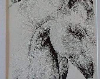 Horse Half Pointillism Original // Ink Pen Drawing