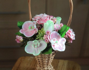 Handmade Soap Flower Bouquet, Flower Arrangement, Orchid Bouquet, Mothers Day Gift, Soap Roses, Flower Basket, Valentines Day Gift For Her