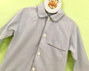 Vintage Baby Boy Blue Oxford Dress Shirt, Size 18 Months, Vintage Baby Boy Dress Shirt Navy Blue Gingham Stitching, Baby Boy Easter Top