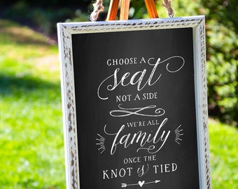Printable Chalkboard Sign Choose A Seat Not A Side, Chalkboard Wedding Sign, Wedding Seating Sign, Wedding Printable, PDF, MAM206_03