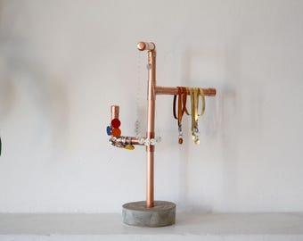 Copper necklace stand, Jewelry storage, Concrete jewelry stand,  Copper jewelry display, Necklace holder, Rustic decor copper, ring tree