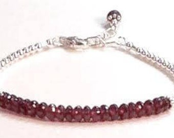 Raspberry Rhodolite Garnet Silver Bracelet January Birthstone,  2nd Anniversary Gemstone