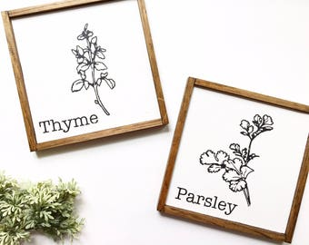 Herbs Wood Sign, Mini Wood Sign Set, Rustic Wooden Herbs Sign, Farmhouse Decor, Farmhouse Kitchen, Kitchen Sign, Thyme Parsley Sign,