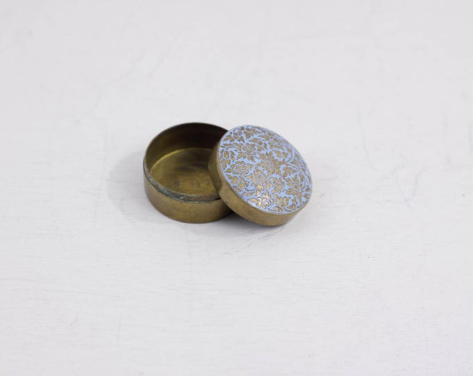 Brass pill box with light blue enamel top, vintage pillbox, trinket box, traveling stud earring box, snuff box, ring box