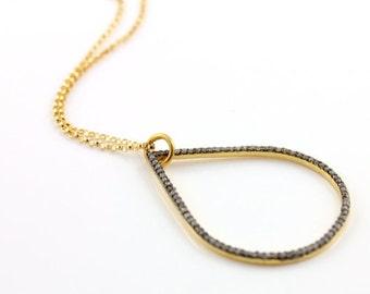 Pave Diamond Tear Drop Diamond Pendant-Diamond Tear Drop Charm,Pave Necklace-Neck-6