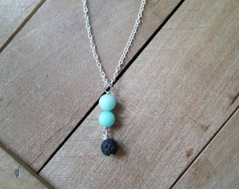 Aquamarine & Lava Stone Aromatherapy Necklace - Simple Sterling Silver Gemstone Necklace, Essential Oil Diffuser Jewelry, Healing Necklace
