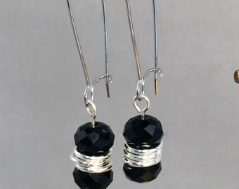 Black Czech Fire polished glass dangle earring