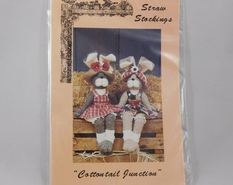 "Bunny Doll and Clothes Sewing Pattern, 18"" doll, Cottontail Junction, 910, Straw Stockings, Rabbits"