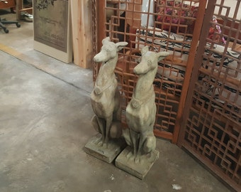 Vintage Egyptian Revival Greyhound Statues, Vintage Conrete Greyhound Statue Pair, Antique Greyhound Statues Egyptian Art Deco Style