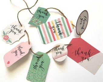 "Set of 24 ""Thank You"" gift tags Modern Calligraphy"