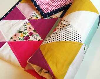 Modern Floral Polkadot Dots Triangle Watercolor Baby Girl Quilt Ready to Ship