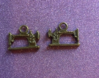 2 Antique Bronze tone old fashion sewing machine charms