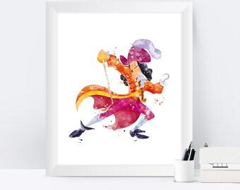 Captain Hook Print Watercolor Peter Pan Nursery Wall Art Artwork Pirate Disney Print instant Download