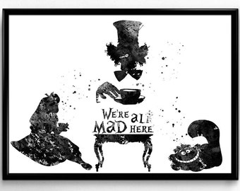 Alice in Wonderland Inspired, Alice with Chesire Cat and Mat Hatter, Tea Time,Poster, Kids Room Decor, gift, Print, Wall Art(34)