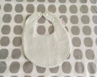Designer Baby Bib - 0-6months - Green Polka Dot