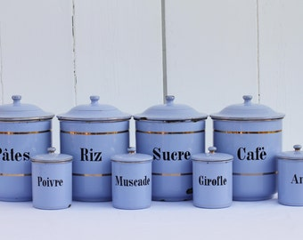 French vintage canister set of eight in blue
