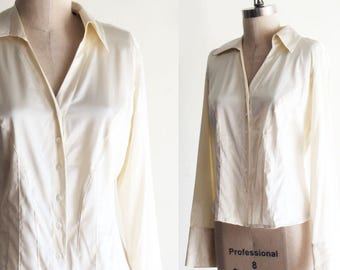 Vintage Context Cream Silk Shirt with French Cuffs Size 8