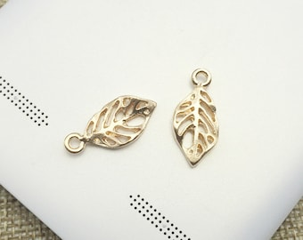 Leaf Vein Charm Pendant Antique Gold Drop Handmade Jewelry Finding 8x19mm 10 pcs