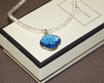 Blue Crystal Pearl Necklace Four Leaf Clover
