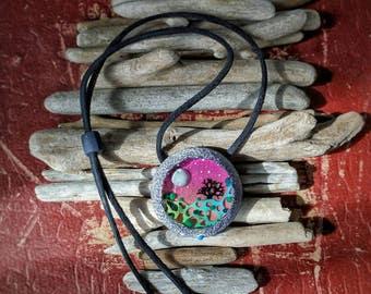 Original Nekclace, Unusual Nekclace, Handmade Nekclace, Gift for Her, Tree Nekclace, Resin Nekclace, Round Nekclace, Pink Nekclace