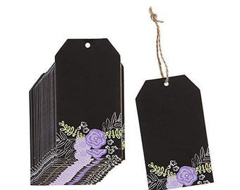 "All Chalked Up, Chalk Paper Tags, Purple Flower, 2.5"" x 4.25"", Set of 28 Tags"
