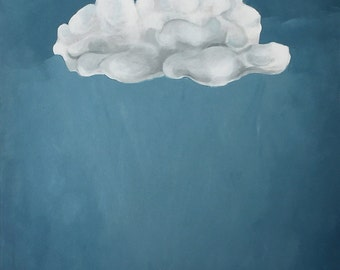 "White cloud on a blue sky large acrylic painting, 18"" x 36"""