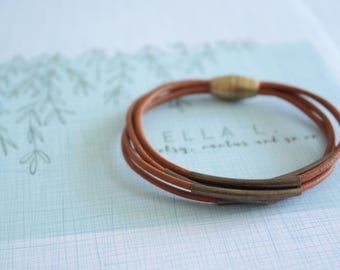 Leather bracelet - bracelet - bronze - metal bracelet -metal - cool bracelet - cool - gift for her - gift for him - jewelry