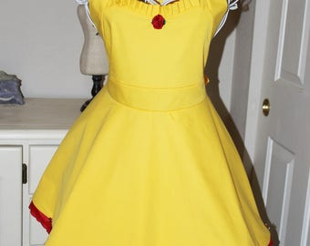Belle - Beauty and The Beast Apron (Sweetheart Neckline)