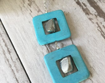 Turquoise Silver Pendant Necklace