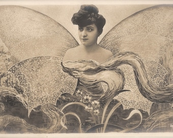 Butterfly Woman Surreal Fantasy Photomontage Mysterious Art Nouveau Woodland Winged Fairy, Original 1900s Antique French RARE Photo Postcard