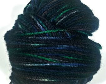 On Sale - NIGHT MOVES, Indie Dyed Variegated Worsted Yarn, Superwash Peruvian Highland Wool, Hand Dyed Yarn