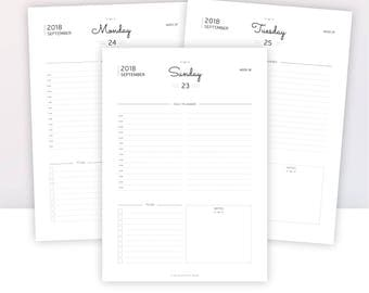 2018 DAILY PLANNER | 2018 AGENDA | Instant Download | Insert planner | Day on 1 Page | A5 - A4 - Us letter - Half letter