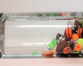 Sports Sensory Bottle  / Calming Jar / Autism / ADHD / Sensory Processing Disorder / Soothing / Preschool / Toddler /Classroom Tool /Balls