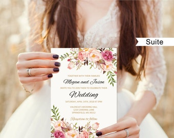 Floral Wedding Invitation Template, Boho Chic Wedding Invitation Suite, Wedding Set, #A008C, Editable PDF - you personalize at home.