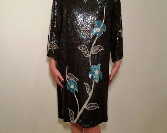 Vintage 1970s Blue Sequin Shift Dress. Iridescent with Floral Pattern. Cocktail. New Year's Eve. Size Large