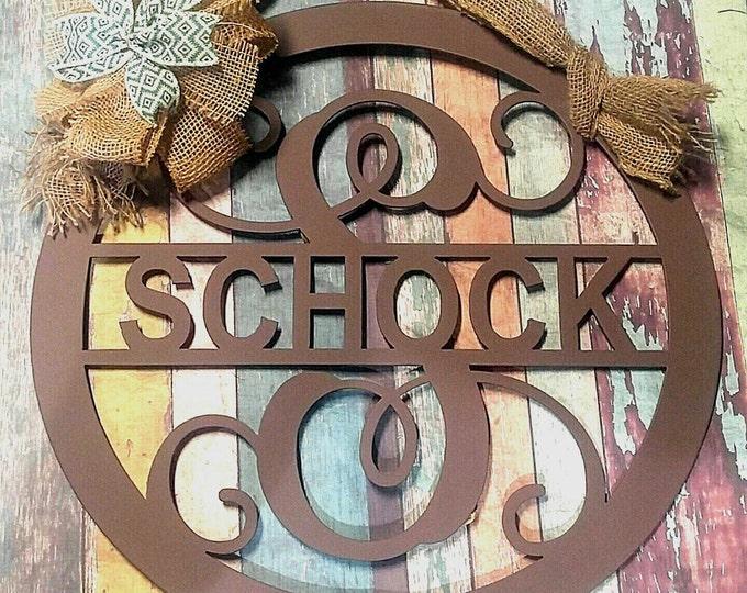 Metal Door Hanger, Front Door Wreath, Metal Monogram Door Hanger, Family Name Sign, Metal Sign, Monogram Front Door Sign, Last Name Sign,