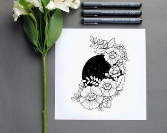 Pen and Ink Illustration Flowers Peony Peonies Night Sky Space Stars Floral Black and White Drawing Square Print