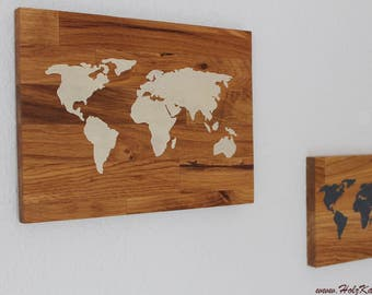 World map on Oak Wood