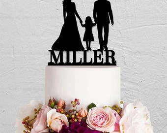 Wedding Cake Topper,Family Cake Topper With Child,Last Name Cake Topper,Custom Cake Topper,Bride And Groom Cake Topper,Rustic Cake Topper