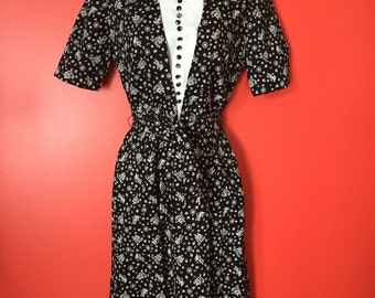 40's Black and White Cotton Novelty Print Day Dress XS Size VLV