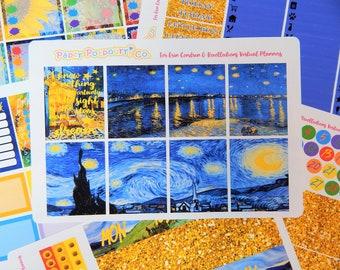Erin Condren Vincent Van Gogh Artworks Colorful Full Week Planner Sticker Kit, Vertical EC Lifeplanner Van Gogh Deco Kit, PaperPotpourriCo