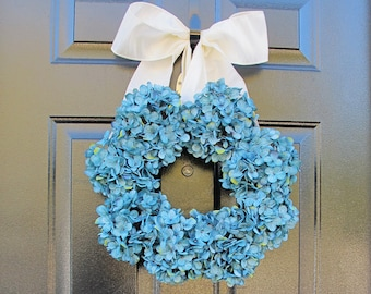 Winter Wreath, Wreath For Front Door, Blue Christmas, Christmas Door Decor With Hydrangeas, Hostess Gift, DIabetes Awareness