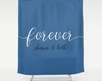 Personalized Gift For Newlyweds, Anniversary Gifts For Women, Custom Shower Curtain, Grey Bathroom Decor, New Home Gift For Wife