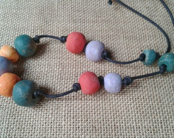 OOAK, long necklace, clay beads, colored clay